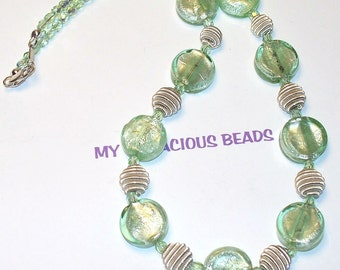 """Handmade 18"""" NECKLACE and EARRINGS Set Foil Lined Pale Green Art GlassBeads Faceted AB Beads Silver Accents and Lobster Claw"""