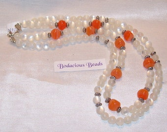 """Handmade 20"""" DOUBLE NECKLACE  White and Orange Art Glass Beads Hook Closure"""