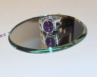 Handmade  Size 6.25  RING Genuine AMETHYST and Double Band STERLING