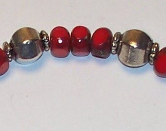 "Handmade 7.5"" BRACELET RED CZECH Fire Polished Art Glass, Silver Beads and Silver Toggle"