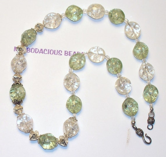 """Handmade 19""""  Art GLASS NECKLACE and EARRING Set  Green/Clear Crackle Glass with Silver Accents and Hook Closure"""