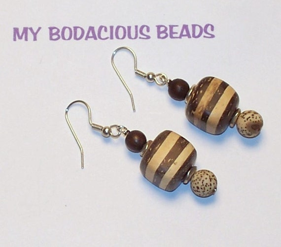 """Handmade  2"""" Striped WOODEN BLOCK Dangle EARRINGS  with Bead Accent  and Silver Wires"""