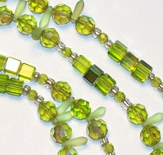 """Handmade 45"""" Long Green Czech CRYSTAL Rope NECKLACE   Multi Bead Shapes and Hues  Faceted Clear AB Beads"""