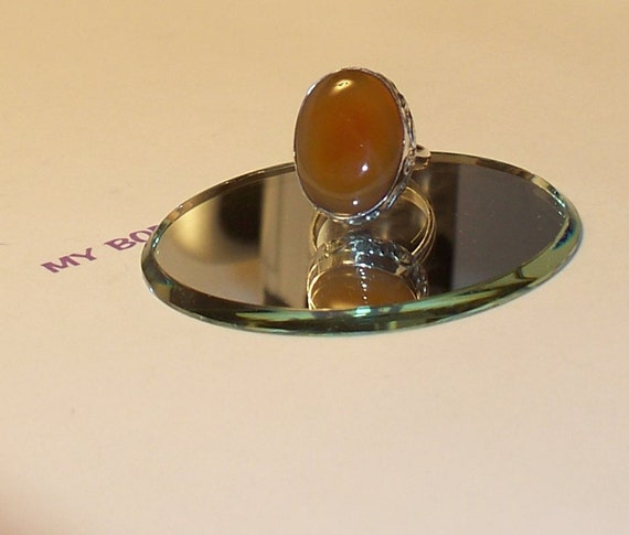 "Handmade  Size 8  CARNELIAN  RING Set in Sterling  1"" x 1/2""  Oval Stone"