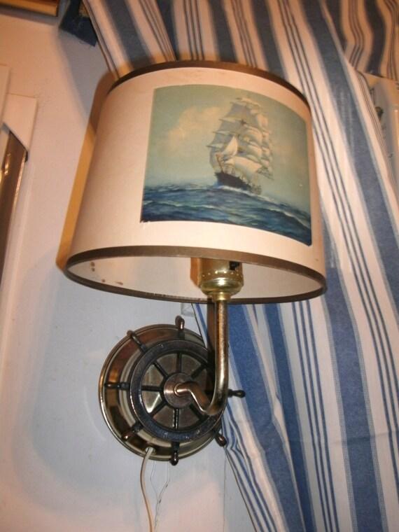 Vintage wall lamp, ship wheel design