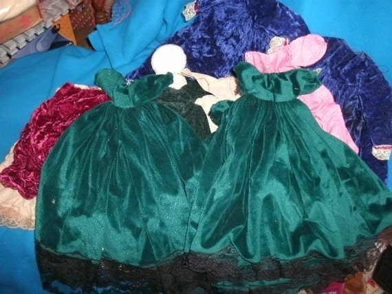 Dress supplies, ready made dresses for victorian style dolls