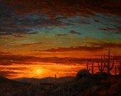 Sonoran Sunset - is a realistic painterly desert sunset scene