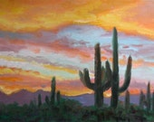 Plein Air Impressionsist Painting of Saguaros by Sunset painted by Kevin McCain
