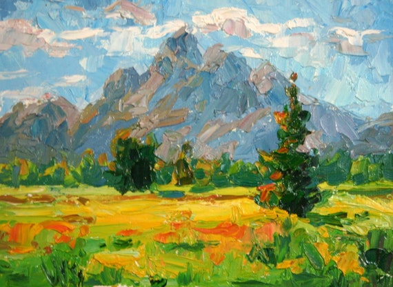 """Impressionistic Plein Air Landscape Painting Entitled """"Mountain Meadow"""""""