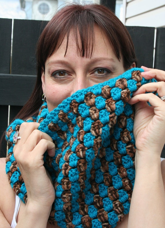 Crochet Peacock Blue and Multi Browns Infinity Scarf Neck-warmer Cowl Shawl Wrap