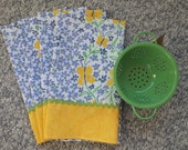 4 Kitchen Tea Towels, Dish Towels, Spring Yellow and Blue Kitchen