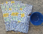 4 Butterfly Dish Towels, Tea Towels, Yellow and Blue Towels