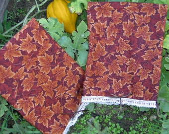 Brown Leaf Tea Towels, Dish Towels, Autumn
