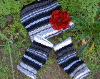 Knit Hat and Fingerless Glove Set, Stormy Blue and Gray,