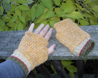 Nubby Wool Fingerless Gloves, Woodsy Mountain Style Softest Fingerless Mittens