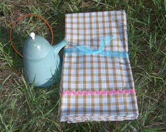 Pastel Blue and Brown Homespun Cotton Dish Towels ~ Set of 2