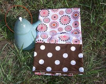 Summer Brown and Pink Polka Dot  Tea Towel Set of 2