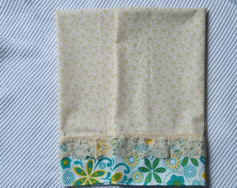 2 Summer Farmhouse Dish Towels, Tea Towels, Shabby Chic Turquoise Kitchen