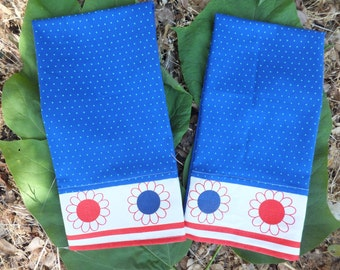 Red White and Blue Tea Towel Set, Patriotic 4th of July