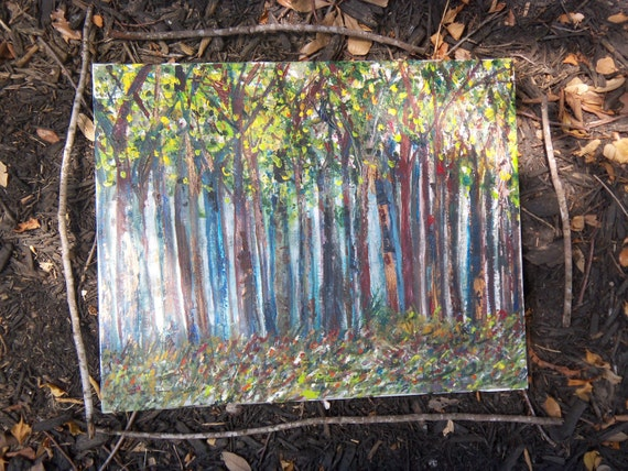 Landscape Tree Painting 20x16  Balancing  the Forest by Sheri