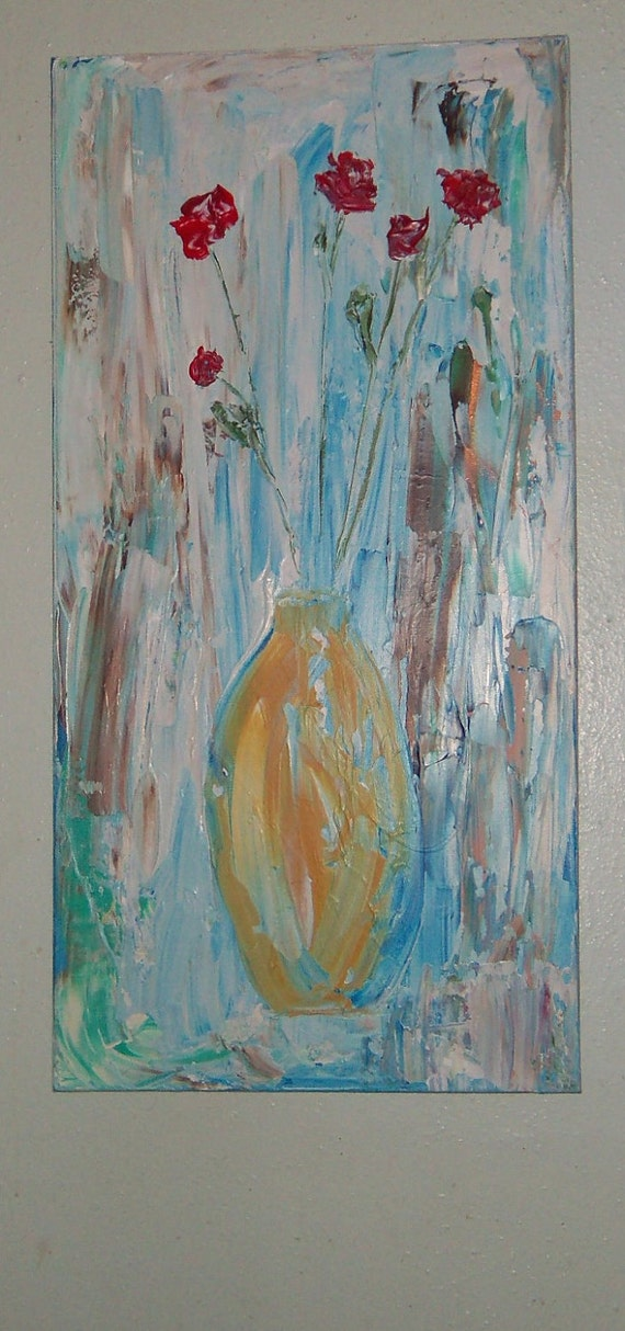 Original Painting Still Life Vessel with Chinese Roses 18x36