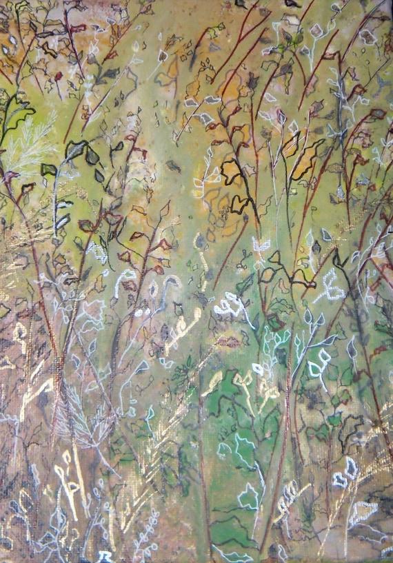 Acrylic Painting Transcending Garden 8x10x1  Reserved for Kristin