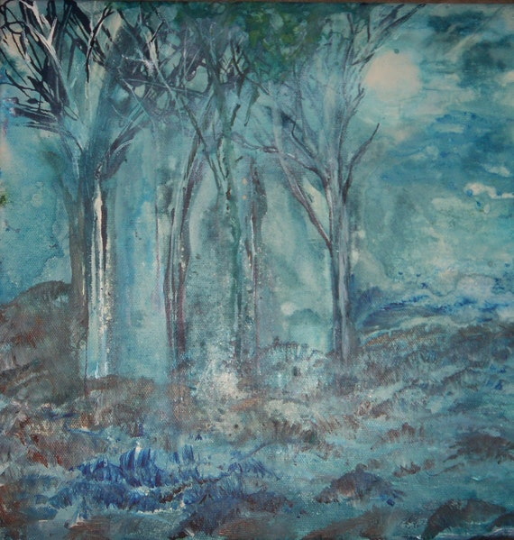 Original Landscape Tree  Painting Today Dawns with a Moon 12x12