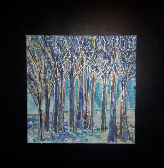 Original Landscape Painting  of Glowing Trees 12x12
