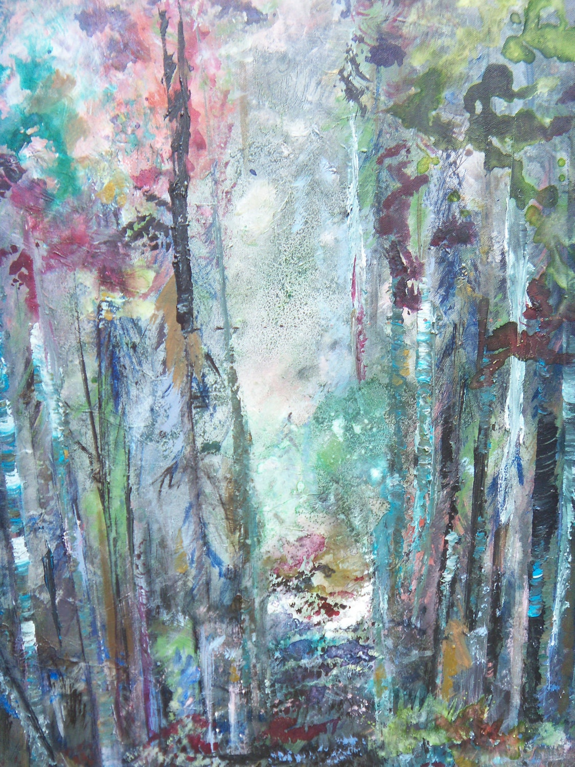Original landscape tree acrylic painting forest by sherischart for Painting a forest in acrylics