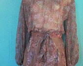 RESERVED FOR HOLLIE In Love // Vintage 70's Sheer Floral Bohemian Poet  Blouse & Skirt // Size Small
