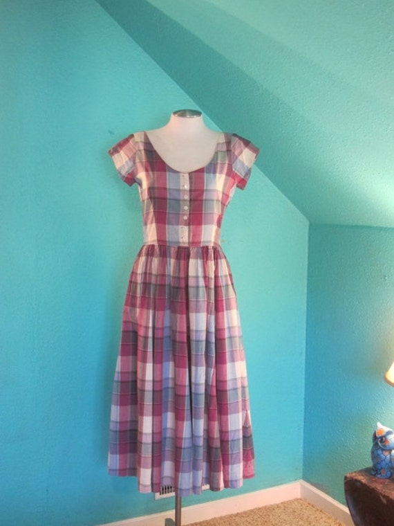 Sock Hop // Vintage Ralph Lauren Plaid Day Full Circle Day Swing Dress // Small