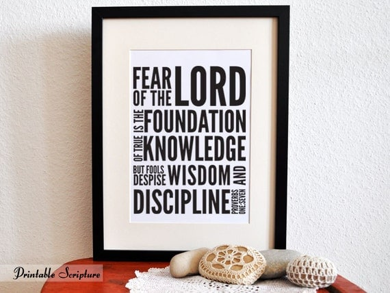 Foundation of True Knowledge. Proverbs 1:7. Printable DIY Christian Poster.Bible Verse.