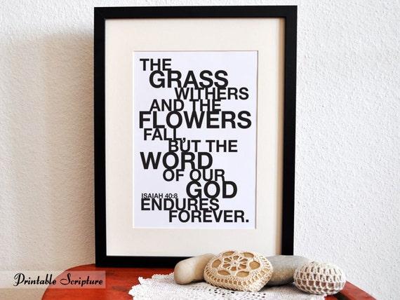 Isaiah 40:8. The Word Endures Forever. 8x10 DIY Printable Christian Poster.Bible Verse.
