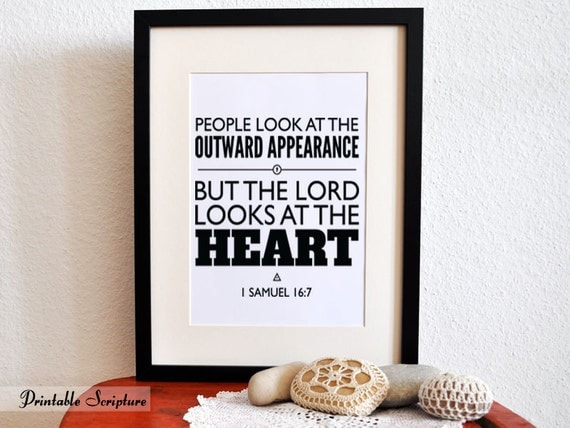 1 samuel 167 the lord looks at the heart 8x10 pdf diy