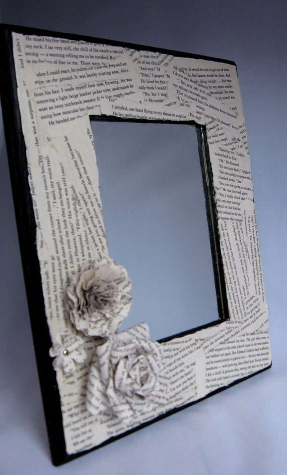 Twilight breaking dawn book page embellished mirror frame for Embellished mirror frame