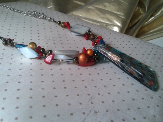 Teal Glass Pendant Necklace Beaded Artsy