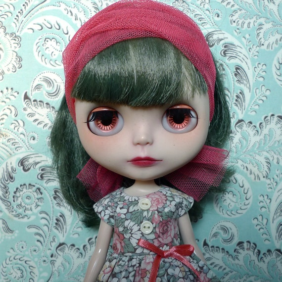 "SALE % Gorgeous Green and Pink Dress Scarf and Petticoat Set for 12"" Blythe, Pullip"