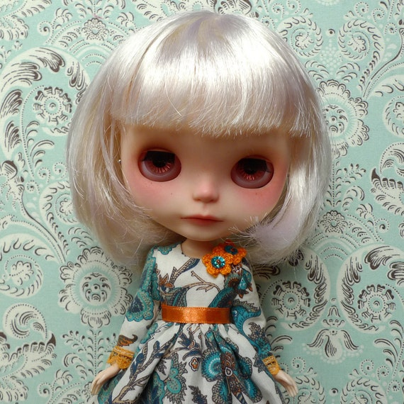 Teal and Orange Bohemian Pattern Dress and Petticoat Set for Blythe