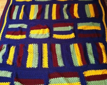 SALE Masculine Red Yellow Blue Green Striped Brick Crochet Afghan