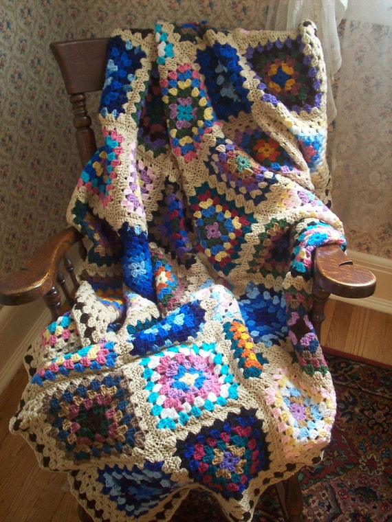 Traditional Granny Square Afghan in Fun Colors with a Tan Border