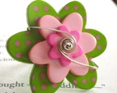 Green and Pink Flower Button Sterling Silver Wire Wrapped Ring
