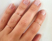 Thin Rose Gold Ring- 14K Gold Filled Knuckle Ring- Skinny Ring, Gold Midi Ring,  Plain Band Ring in any size