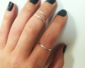 Set of 3 Midi Rings- Sterling Silver Stacking Rings, First Knuckle Rings, made to order in any sizes