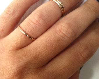 Set of 2 Gold Midi Rings, Simple Knuckle Rings, Thin Stacking Bands, Gold Filled, made to order in any size