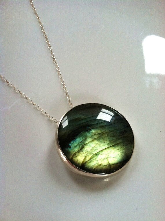 Large Round Labradorite Pendant on Sterling Silver Chain