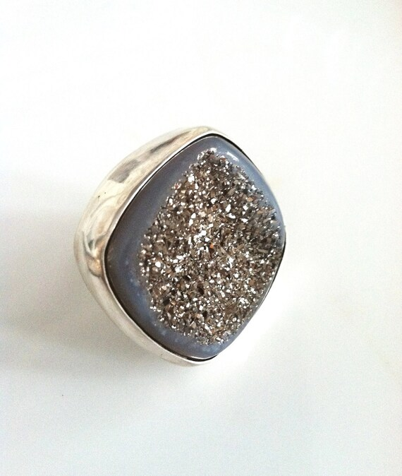Icy Metallic Silver and Blue Druzy and Sterling Silver Ring