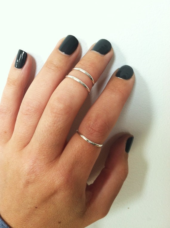 Set of 2 -Silver Mid Knuckle Rings, Sterling Silver Stacking Rings, Knuckle Rings, Midi Rings, Above the Knuckle Rings