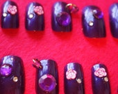 "3D Japanese Style Dark Purple Nails "" Electric Pansy""  SIZE B"