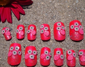 "SALE! 3D Japanese Style Bright Pink Flower Nails "" Pink Berry  ""  SIZE A"