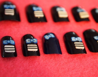"SALE! 3D Japanese Style Nails ""Black and Blue"" SIZE B"